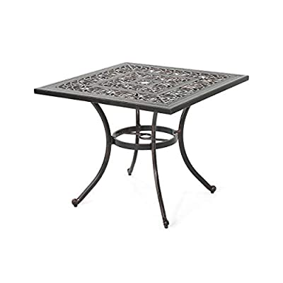 Christopher Knight Home Jamie Outdoor Square Cast Aluminum Dining Table, Shiny Copper
