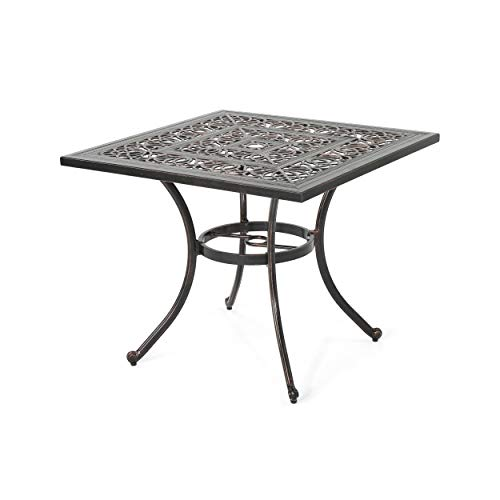 Great Deal Furniture 306274 Jamie Outdoor Square Cast Aluminum Dining Table, Shiny Copper