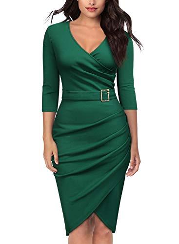 (Knitee Women's Elegant V-Neck Criss Cross Evening Party Cocktail Bodycon Sheath Pencil Dress)