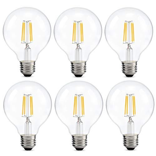 Edison Led Globe Light Bulb G80, Warm White 2700K, Edison Style Filament LED Medium Screw Base E26,380lm, Bathroom Vanity Mirror Light, Clear Glass Cover Light Bulb 6-Pack