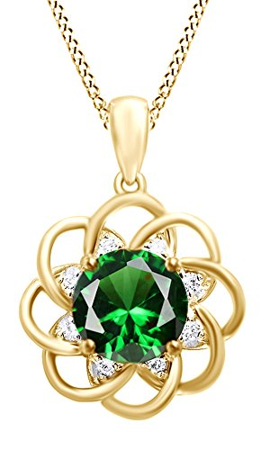 Jewel Zone US 4.5 Ct Simulated Green Emerald, Cubic Zirconia Cluster Pendant Necklace 14k Gold Over Sterling Silver ()