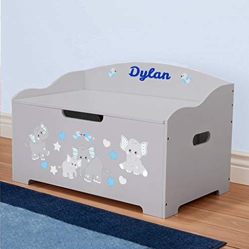 DIBSIES Personalization Station Personalized Dibsies Modern Expressions Toy Box (Gray with Blue Elephants) ()