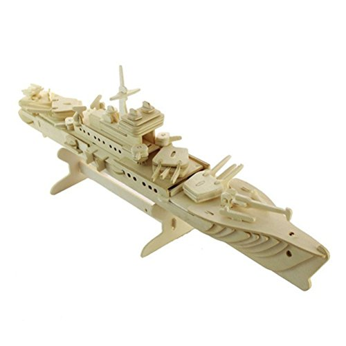 Dlong 3D DIY Assembly Construction Jigsaw Puzzle Handmade Woodcraft Kit Set Cruiser Battle Ship Wood Model Kits for Youth Teenage and Grown Ups