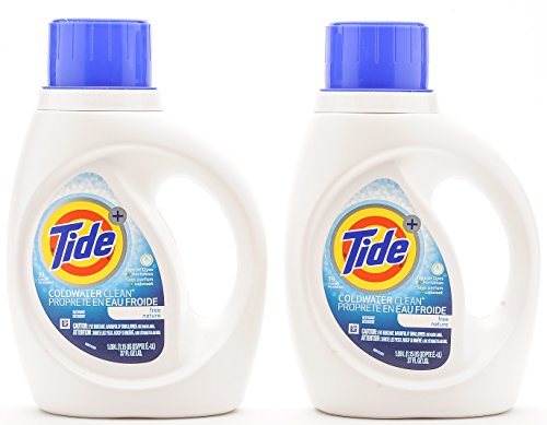 Tide Coldwater Clean Unscented Free Nature. Free of Dyes & Perfumes 38 loads (2 x 37oz) Coldwater Dye