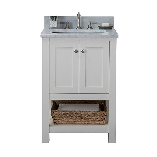 - Alya Bath HE-102-24-W-CWMT Wilmington Single Bathroom Vanity with Carrera Marble Top and No Mirror, 24