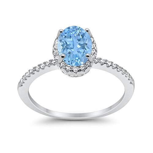 Blue Apple Co. Halo Fashion Ring Oval Simulated Aquamarine Round CZ Accent 925 Sterling Silver, Size-7