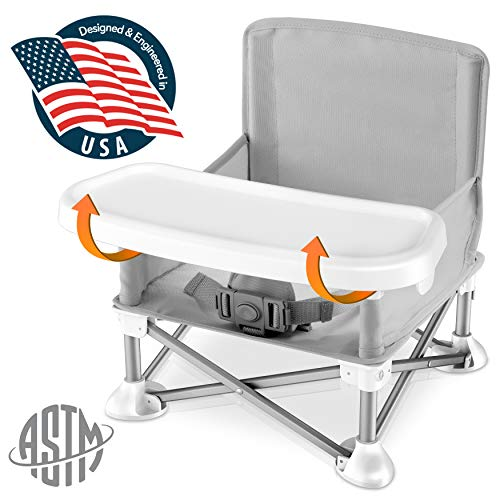 Baby Seat Booster High Chair - Portable Toddler Booster Seat - Lightweight Easy Travel Pop-n-Sit Folding Booster Feeding Chair w/ Aluminum frame, Safety Belt for Camping/Beach/Lawn - SereneLife SLBS66