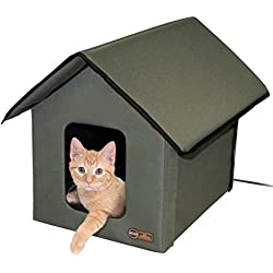K&H Manufacturing Outdoor Kitty House, 18 x 22 x 17-Inches, Heated - Olive