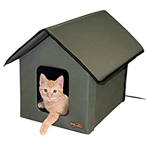 K&H Pet Products Outdoor Heated Kitty House, Olive, 20W 32