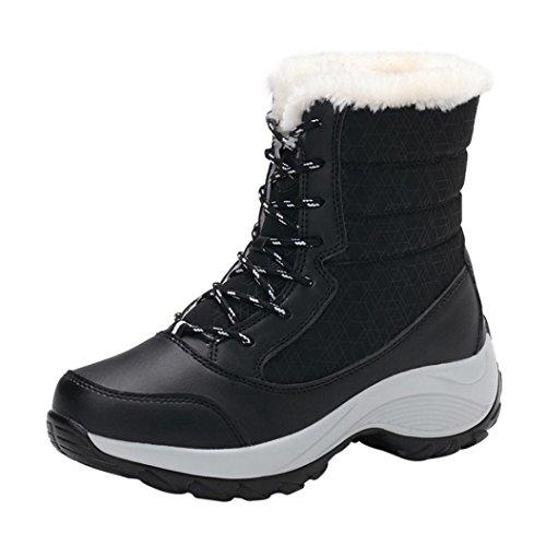 Zarupeng Frauen Winterstiefel Plüsch Lace-Up Outdoor Arbeitsschuhe Wasserdichte Schnee Schuhe Schwarz