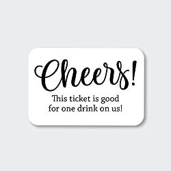 70ct Wedding, Birthday, Engagement Party and Other Event Cash Bar Drink Tickets (RR-145-BK)