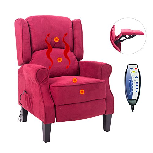 Red Recliner Chair Heating Sofa Vibrating Massage Suede With Controller