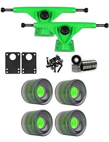 労働スツール一般RKPグリーンLongboardトラックホイールパッケージ62 mm x 51.5 MM 83 AブラックCクリア [並行輸入品]