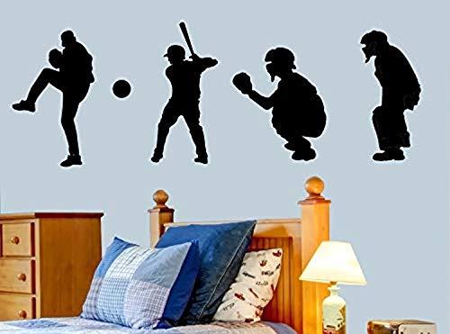 Baseball Players Silhouette Art Boys Sports Home Wall Decals Decor Vinyl Sticker SK13762 ()