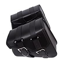 2pcs Sport Touring Saddle Bags for Motorcycle PU Leather Heavy-duty Waterproof Outdoor Tank SaddleBags, Black
