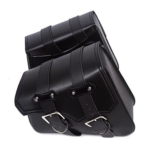 - OHMOTOR 2PC Motorcycle Black Triangular Synthetic Leather 2-Strap Saddlebag Tool Bag