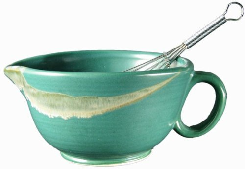 PRADO STONEWARE COLLECTION - Perfect Grip 30 Ounce Mixing Bowl With Metal Whisk - Matte Green