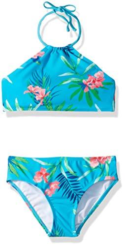 Kanu Surf Toddler Girls' Mahina Beach Sport Halter Bikini 2-Piece Swimsuit, Leonie Floral Aqua, 2T