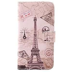 TY-Funda protectora Torre Eiffel diseño de PU con ranura para tarjeta para la galaxia de Samsung i9600 S5