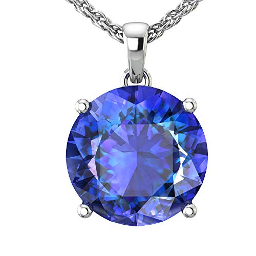 Belinda Jewelz 14k Rhodium Plated White Gold Round Gemstone Sparkling Rope Chain Sterling Silver Birthstone Fine Jewelry Classic Women Hang Pendant Necklace, 4.2 Carat Created Blue Sapphire, 18 Inch