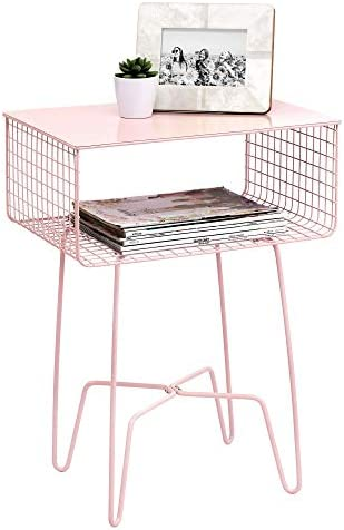 mDesign Modern Farmhouse Side/End Table – Metal Design – Open Storage Shelf Basket, Hairpin Legs – Sturdy Vintage, Rustic, Industrial Home Decor Accent Furniture for Living Room, Bedroom – Light Pink