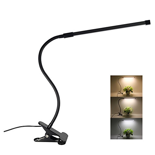 LED Desk Lamp Dimmable Eye Care Reading Light 3 Color Changing 10-Level Brightness Mental Flex Clamp Lamp Clip On Light for bedroom LED Table Light - 15 Desk Piano