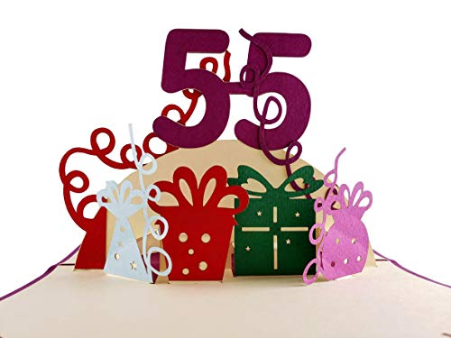 iGifts And Cards Happy 55th Birthday With Lots of Presents 3D Pop Up Greeting Card - Awesome, Cute, Fun, Unique, Special Occasion, Half-Fold, Celebration, Husband, Wife, Best Friend, Congratulations