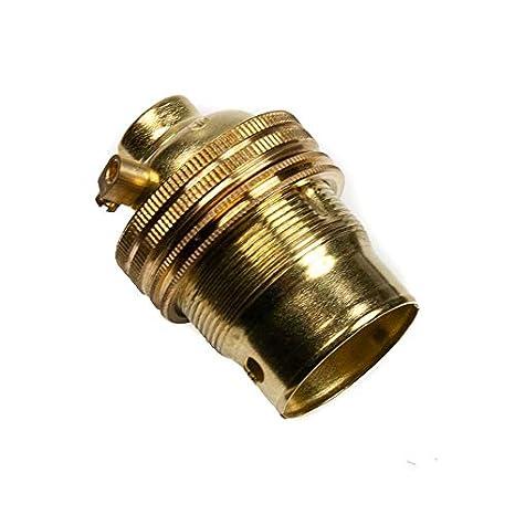 K M Electronics/® Brass Switched LAMP Light Bulb Holder BC Bayonet Cap 1//2 Screw Thread