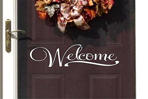 YINGKAI Welcome Quote for Your Front Door Sign Vinyl Carving Wall Decal Sticker for Home Window Decoration