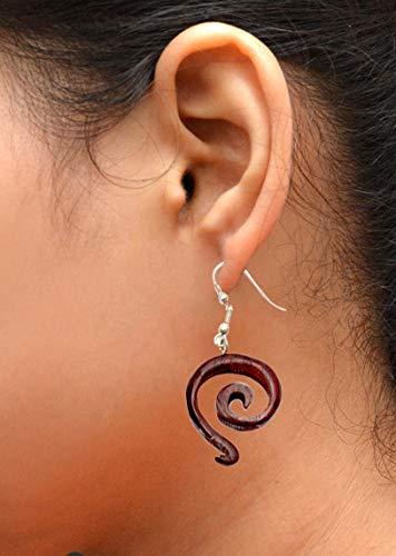 (Krishna Mart India A Pair of Coco Wood Wooden Coconut Organic Boho Hippie Earrings Sew_333)