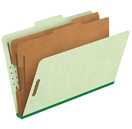 Pendaflex Top-Tab Pressboard Classification Folders, 2/5 Cut, 2 Dividers, Legal Size, Apple Green, 10 Per Box  (2257G)