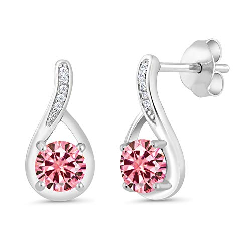 Gem Stone King 925 Sterling Silver Dangle Earrings Round Pink Created Moissanite and Diamond White 1.00ct (DEW) ()