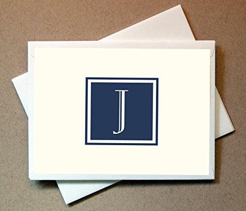 Monogram Stationery Note Cards (24 Foldover Cards and Envelopes) (J)