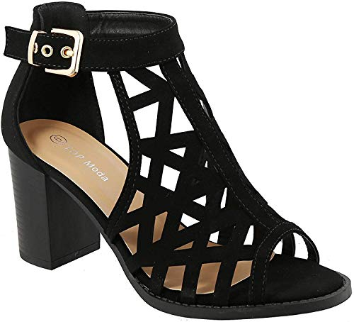 TOP Moda Levin-27 Ankle Strap Open Toe Chunky Heel Platform Gladiator Sandal,Black,7.5