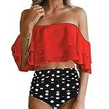 Women Swimsuits,TADAMI Women High Waisted Bikini Swimsuit Two Piece Bathing Suit Top with Swim Bottom Red