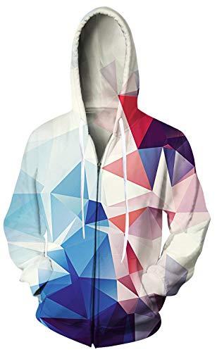 70s' Men Zipper Hoodies Colorful Diamond Full-Zip Hooded 3D Print Warm Sweatshirt for Adult Male Indoor Party Clothes Plus Size Running Active Regular Fit Top Outwear - Diamond Hoodie Zip