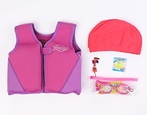 Titop Infant Baby Swim Jacket Under 20 Lbs Children Swim Vest Purple Small & Swimming Cap & Swiming Glasses & Nose Protector 3 Set Package by Titop