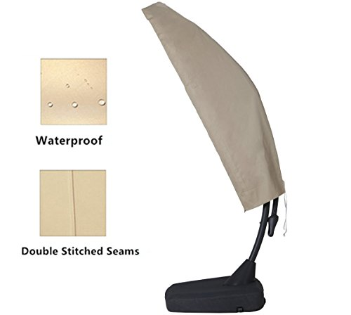 11' Umbrella Cover (Grand Patio Deluxe Patio Umbrella Cover for 9 to 11 FT Offset Umbrella with Curved Cantilever and Straight Pole, Waterproof Cantilever Umbrella Cover with Zipper, Weather-resistant and Durable, Beige)