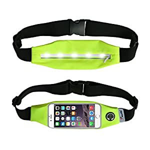 NEWPPON Runner Waist Pack With LED Lights For Safety-Waterproof And Touched Screen Sports Running Belt Fits iPhone 6 6s/iPhone 7(4.7''-5.5'') For Outdoors