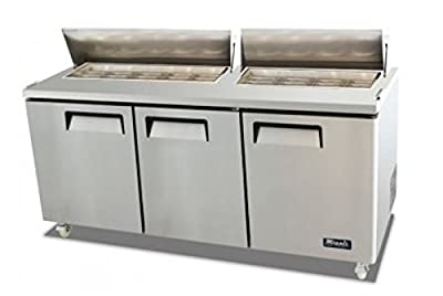 """Migali C-SP72-18 72"""" Competitor Series Sandwich Prep Table with 18 (1/6 Size) Pan Capacity Wire Shelf 9.25"""" Cutting Board Stainless Steel Construction Digital Controller Casters in Stainless"""