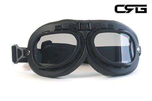 CRG Sports Vintage Aviator Pilot Style Motorcycle Cruiser Scooter Goggle T01 T01BTB Smoke lens, black frame]()