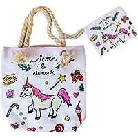 Goods4good Bolso Playa Piscina Unicornio Pequeño Infantil para Niña/Chica con Regalo Neceser/Monedero Color Rosa Asas…