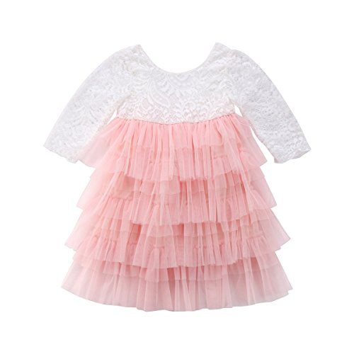 (Toddler Baby Girl Tutu Lace Party Dress Flower Girl Dress Long Sleeve Princess Dress Kids Girl Floral Fashion Dress Clothes (Ligth Pink, 3-4)