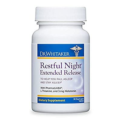 Dr. Whitaker's Restful Night Extended Release Melatonin Sleep Aid Helps You Fall Asleep and Stay Asleep Longer with Dual-Layer, Extended Release Technology, 30 Tablets (30-Day Supply)