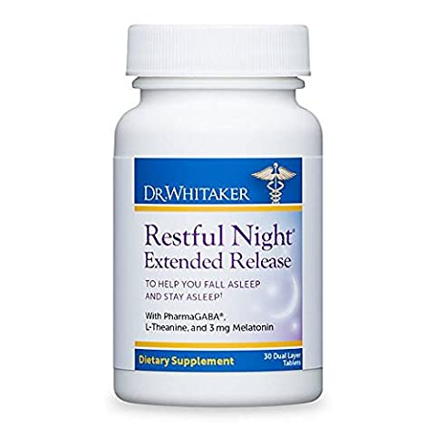 Dr. Whitaker's Restful Night Extended Release Melatonin Sleep Aid Helps You Fall Asleep and Stay Asleep Longer with Dual-Layer, Extended Release Technology, 30 Tablets (30-Day (Healthy Directions)