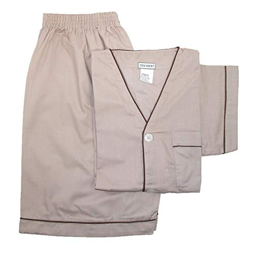 Ten West Apparel Men's Short Sleeve Short Leg Pajama Set, 2XL, Tan
