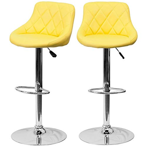 (Modern Style Bar Stools Low Back Horizontal Stitched Design Durable Vinyl Upholstery 360-Degree Swivel Seats Drafting Dining Chair Bar Pub Home Office Furniture - [Set of 5] Yellow #2242)