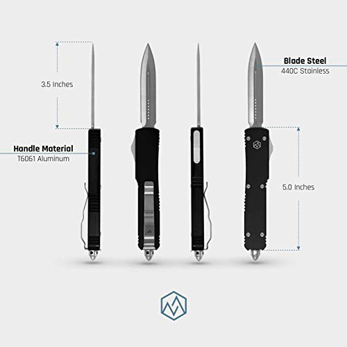 OTF Double Action Safety Knife (Matte Black & Satin Double Edge Blade) by OTF (Image #2)