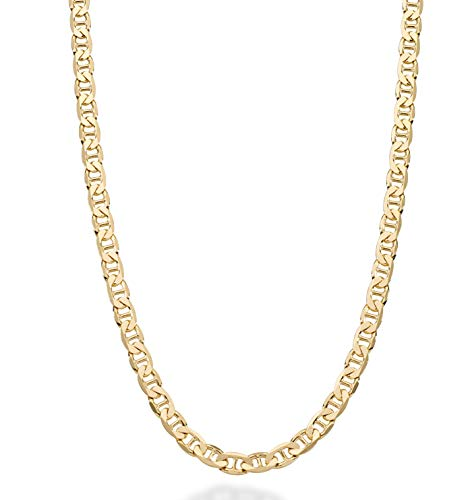 MiaBella Solid 18K Gold Over Sterling Silver Italian 4mm Diamond-Cut Flat Mariner Link Chain Necklace for Men Women 16-30 Inches 925 Made in Italy (22)