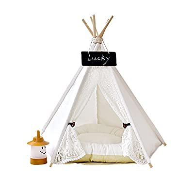 Pet Teepee Dog & Cat Bed - Dog Tents & Pet Houses With Cushion & Blackboard ,White,Lace Style